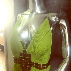 Just Cavalli lime green cocktail dress